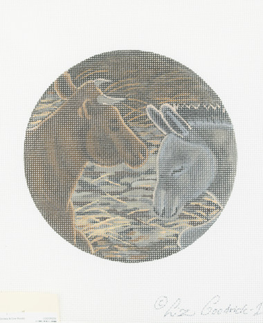Hand-Painted Needlepoint Canvas - Liz Goodrich-Dillon - LGDOR209 - Donkey and Cow Rondel