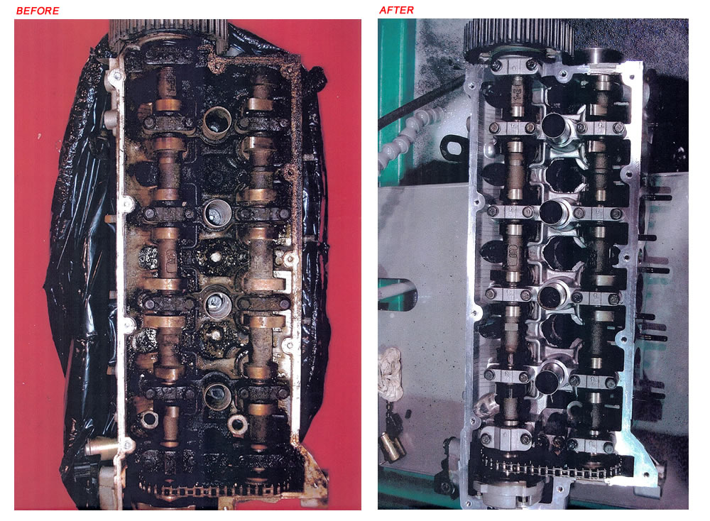 Engine block before and after