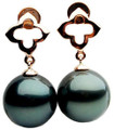 TE040b (AAA 12mm Tahitian Black Pearl Earrings In 18k Rose Gold )