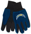 Los Angeles Chargers Two Tone Adult Size Utility Gloves