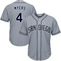 Men's Majestic San Diego Padres #4 Wil Myers Replica Grey Road Cool Base MLB Jersey