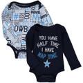 Newborn & Infant Dallas Cowboys Navy/White 2-Pack Gatson Long Sleeve Bodysuit Set