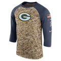 Green Bay Packers Salute to Service Raglan 3/4 Long Sleeve Tee