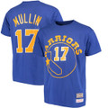 Men's Chris Mullin Golden State Warriors  Mitchell & Ness Royal Hardwood Classics Retro Name & Number T-Shirt