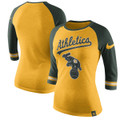 Oakland Athletics Nike Women's Tri-Blend 3/4-Sleeve Raglan T-Shirt in Gold