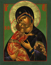 "Icon of the Theotokos ""Loving Kindness"" - 20th c. Russia - (12G65)"