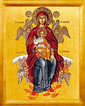 "Icon of The Theotokos ""More Honorable"" - 20th c. St. Anthony's Monastery - (12H11)"