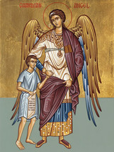 Icon of the Guardian Angel with little boy - 20th c. - (1AN20)
