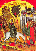 Icon of the Entry into Jerusalem (Palm Sunday) - 16th c. Theophan the Cretan - (11F05)