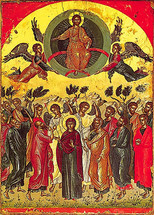Icon of the Ascension - 16th c. Theophan the Cretan - (11M02)