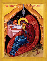 Icon of the Nativity of the Lord (Christmas) - 21st c. - English - (11A07)