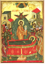 Icon of the Dormition of the Theotokos - 16th c. Theophan the Cretan - (12E06)
