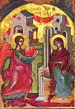 Icon of the Annunciation - 16th c. Theophan the Cretan - (12D03)