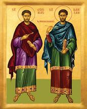Icon of Sts. Cosmas & Damian the Unmercenaries - 20th c. - (1CD10)