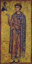 Icon of St. Demetrios (mosaic) - 11th c. Xenophontos Monastery - (1DE15)