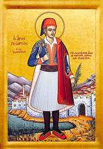 Icon of St. George the New Martyr - 20th c. St. Anthony's Monastery - (1GE40)