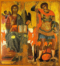 Icon of St. George (w/Christ) - 17th c. Cretan - (1GE15)