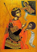 Icon of St. George - 17th c. Cretan - (1GE12)