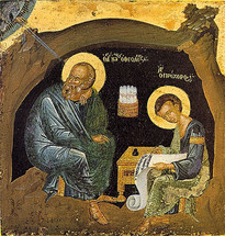 Icon of the Apostle John the Theologian with St. Prochoros (On Patmos, The Revelation) - (1JT11)