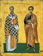 Icon of Apostles James & Thomas - 17th c. Dionysiou Monastery - (1JT90)
