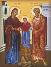 Icon of the Righteous Ancestors, Joachim & Anna with the Most-holy Theotokos - 20th c. - (1JA92)