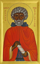 Icon of St. Moses the Ethiopian (bust) - 20th c - (1MO43)