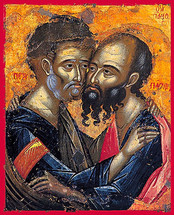 Icon of Sts. Peter & Paul - 17th c. Cretan - (1PP14)