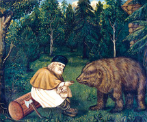 Icon of St. Seraphim of Sarov with Bear - (1SE15)