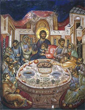 Icon of the Mystical Supper - 14th c. Vatopedi Monastery - (11G01)