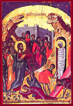 Icon of the Raising of Lazarus - 16th c. Theophan the Cretan - (11E61)
