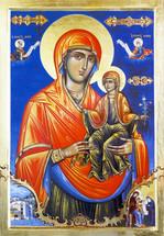 Icon of St. Anna & the Theotokos (Mt. Athos) - 20th c. - (1AN41)