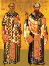 Icon of Sts. Athanasios & Cyril of Alexandria - 20th c. - (1AC10)