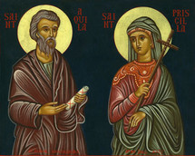 Icon of Sts. Aquila and Priscilla - 20th Cent., Mt. Athos - (1AP30)