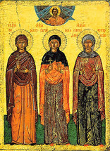 Icon of Ss. Thekla, Irene & Ephemia - 16th c. Cretan - (1TI10)