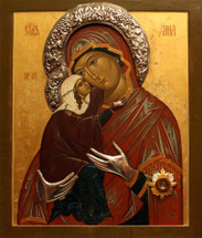 Icon of St. Anna & the Theotokos (Russian) - (1AN40)