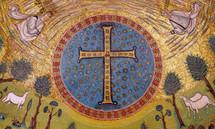 Mosaic Cross - Basilica St. Apollinarios, Ravenna - 5th c. - (GTC09)