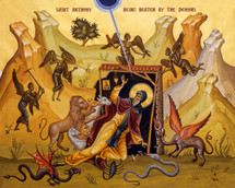 Icon of St. Anthony being beaten by demons - (1AN55)