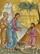 Icon of Christ healing the demon possessed boy - (11L54)