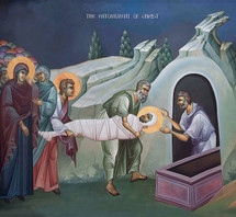 Icon of the Entombment of our Lord - fresco - (11J22)