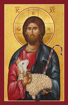 Christ depicted as the Good Shepherd. A beautiful 20th century icon of Christ holding a lost sheep and the shepherds staff.