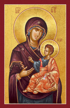 A beautiful 20th century icon of the Theotokos Mary and Christ. Part of a matching set with Christ the Good Shepherd (11S23).