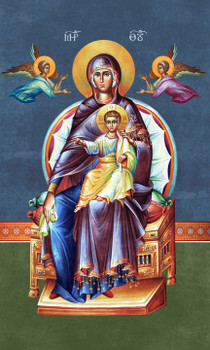 Icon Of The Virgin Enthroned - 20th c. fresco- (12M12)