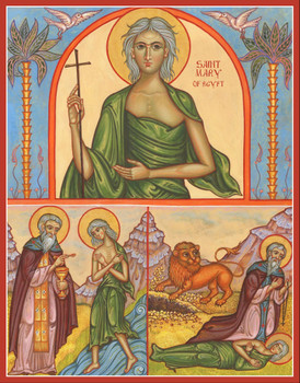 Icon of St. Mary of Egypt with Scenes from her life