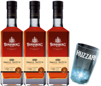 "BUNDABERG ""BUNDY"" RUM SMALL BATCH TRIO PACK + FLASHING HUZZAH CUP-"