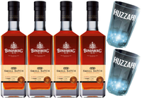 "BUNDABERG ""BUNDY"" RUM SMALL BATCH 4 PACK + 2 FLASHING HUZZAH CUPS-"