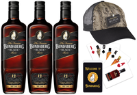 BUNDABERG RUM BLACK VAT 244 12 YEAR OLD 3 PACK BONUS GENUINE BUNDY PLAYING CARDS & MUNTINY CAP