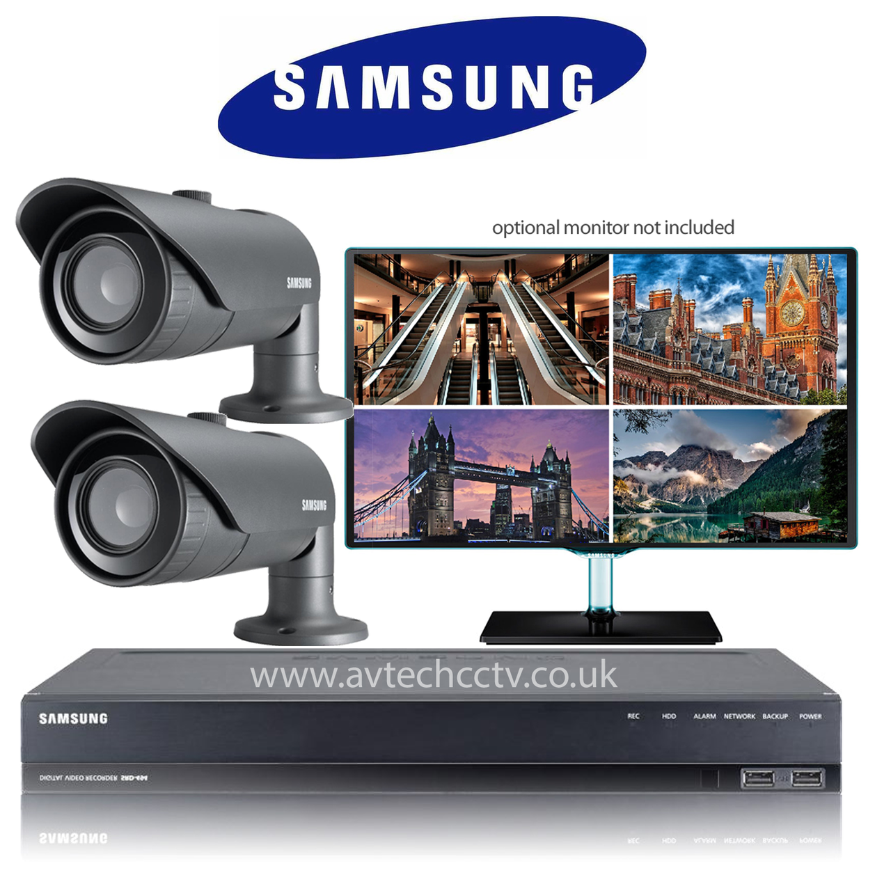 2 samsung cctv wisenet hd security camera system with bullet vari lens avtech cctv. Black Bedroom Furniture Sets. Home Design Ideas