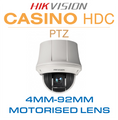 Hikvision Casino PTZ - Pan, Tilt and Zoom features with 4mm-92mm Zoom Lens