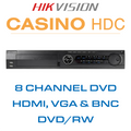 Hikvision Casino 8 DVD Channel DVR with HDMI, VGA & BNC Outputs