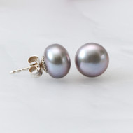 Silver Grey Pearl Studs 9-10mm